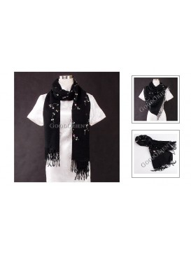 Small Floral Embroidery Pashmina Shawl---Black