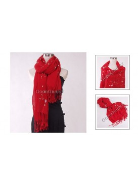 Small Floral Embroidery Pashmina Shawl---Bright Red