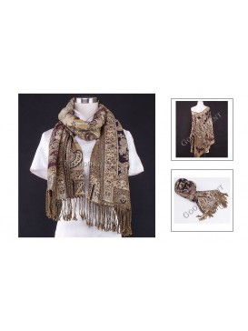 Indian Style Golden Thread Pashmina Shawl---Golden