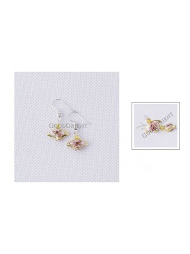 Small Golden Floral Fan Earring