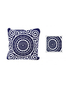 Sun Wheel Dyed Cotton Cushion Cover---Navy + White