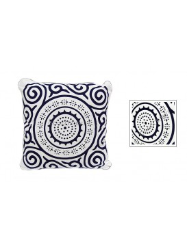 Sun Wheel Dyed Cotton Cushion Cover---White + Navy