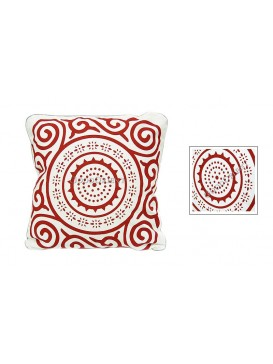 Sun Wheel Dyed Cotton Cushion Cover---White + Red
