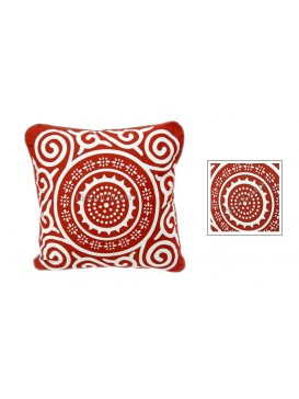 Sun Wheel Dyed Cotton Cushion Cover---Red + White