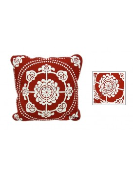 Wealthy Snowflake Dyed Cotton Cushion Cover---Red + White