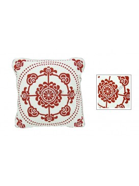 Wealthy Snowflake Dyed Cotton Cushion Cover---White + Red