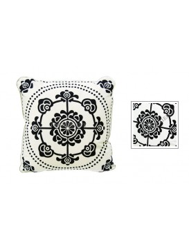 Wealthy Snowflake Dyed Cotton Cushion Cover---White + Navy