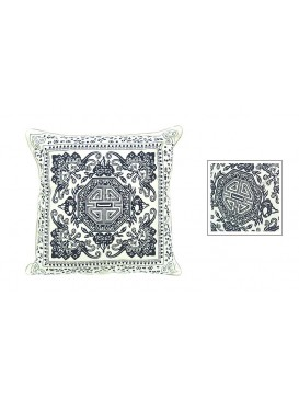 Good Luck and Happiness Dyed Cotton Cushion Cover---White + Navy