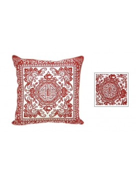 Good Luck and Happiness Dyed Cotton Cushion Cover---Red + White