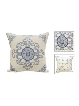 Lucky Coin Dyed Cotton Cushion Cover---Pale Grey + Navy