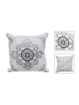 Lucky Coin Dyed Cotton Cushion Cover---Pale Grey + Green