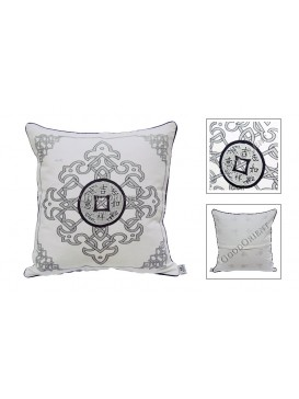 Lucky Coin Dyed Cotton Cushion Cover---Pale Grey + Tan