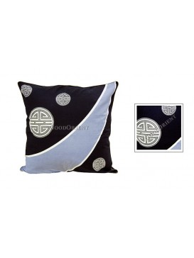 Longevity Dyed Cotton Cushion Cover---Navy + Pale Blue