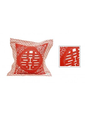 Red Happiness Dyed Cotton Cushion Cover