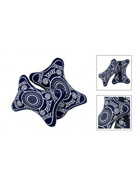 Sun Wheel Dyed Cotton Car  Pillow---Navy + White