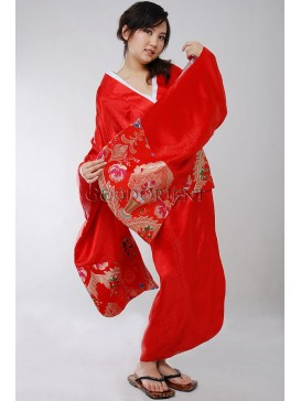 Red and Golden Flourishing Japanese Style Kimono Robe