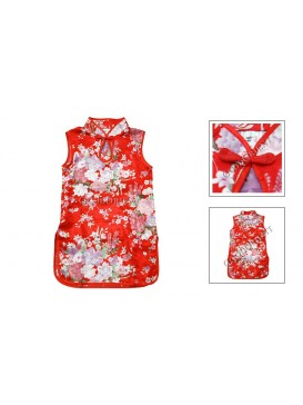 Brilliant Floral Rayon Qi Pao---Red