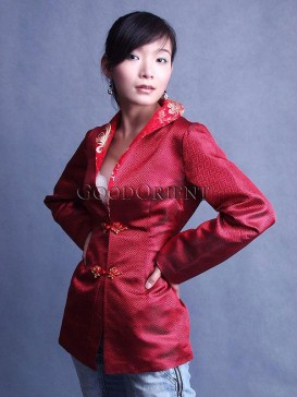 Chinese Red Check Brocade Jacket