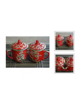 Happy Lover Dragon and Phoenix Tea Cup Set