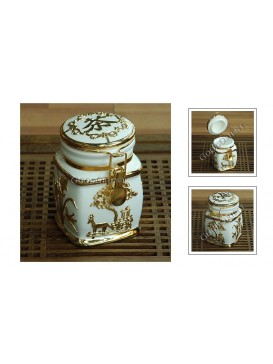White All Blessing Porcelain Tea Caddy