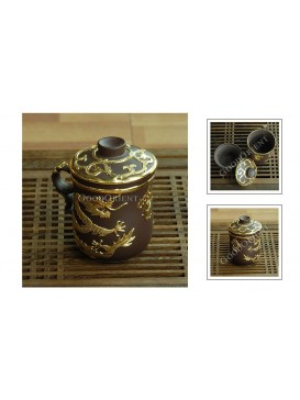 Double Golden Dragons Yixing Purple Sand Tea Cup
