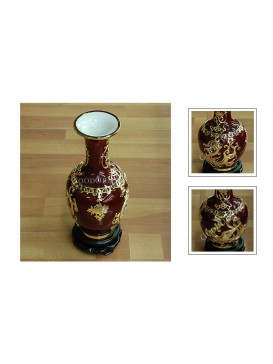 Dark Red Golden Phoenix Inlay Porcelain Vase