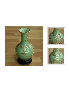 Jade Color and Golden Phoenix Inlay Porcelain Vase