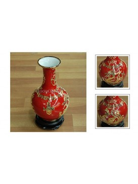 Red Golden Dragon and Phoenix Inlay Porcelain Vase