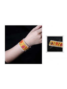 Miao Style Colorful Cloth Bracelet---Golden Blessing