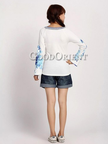 Chinese Ethnic Embroidery Bell Sleeves Blouse