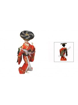 Geisha Doll With a Bamboo Hat