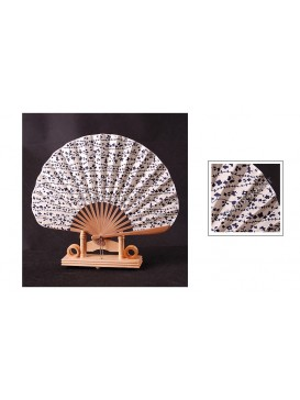 Japanese Style Cotton & Bamboo Fan---Beige