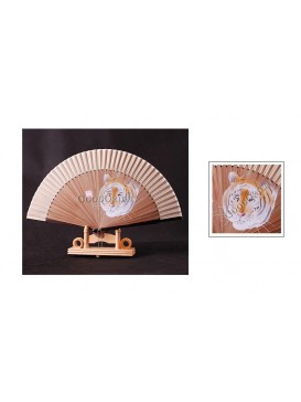 Ink Jetted Cream Tiger Bamboo Fan