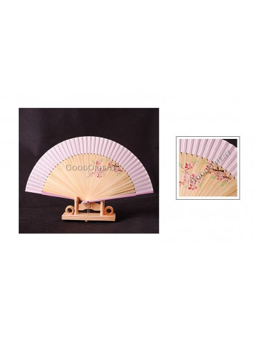 Pink Hand Painted Peach blossom Fan