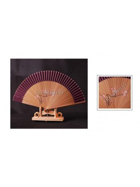 Hand Painted Plum Blossom Bamboo Fan---Purple