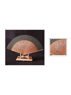 Hand Painted Peony Bamboo Fan---Olive