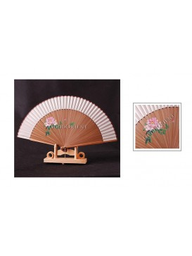 Hand Painted Peony Bamboo Fan---Cream Silk