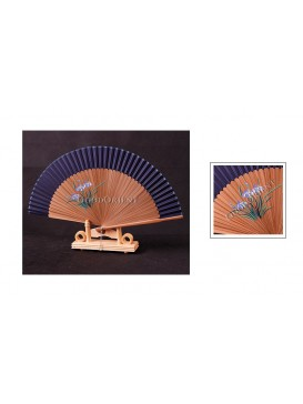Hand Painted Orchid Bamboo Fan---Blue Black