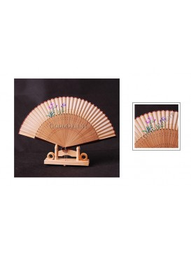 Hand Painted Orchid Bamboo Mount Fan