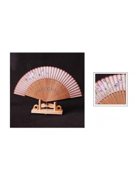 Pale Pink Hand Painted Morning Glory Bamboo Mount Fan