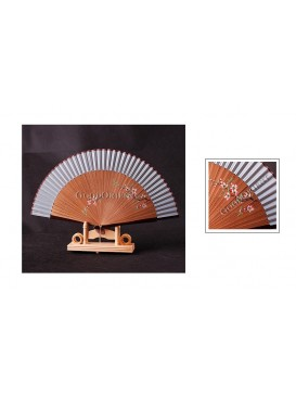 Hand Painted Peach blossom Bamboo Mount Fan---Pale Blue Gray