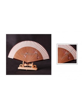Hand Painted Plum Blossom Bamboo Mount Fan---Cream