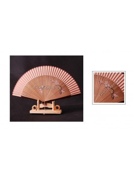 Hand Painted Plum Blossom Bamboo Mount Fan---Dusty Rose