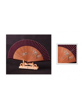 Hand Painted Plum Blossom Bamboo Mount Fan---Purple