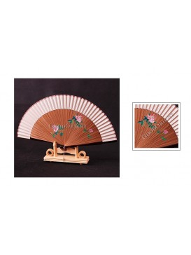 Hand Painted Peony Bamboo Mount Fan---Cream