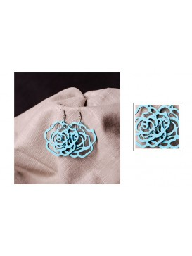 Cyan Rose Wooden Earrings