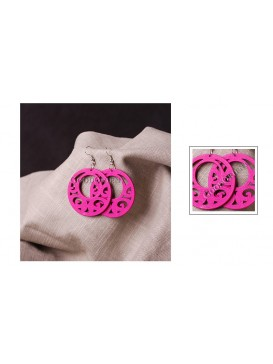 Fuchsia Floral Carving Round Wooden Earrings