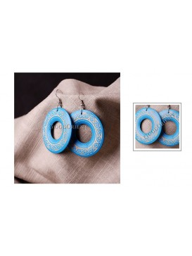 Blue Floral Round Wooden Earrings