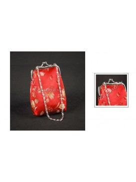 Red Short Chain Brocade Bag