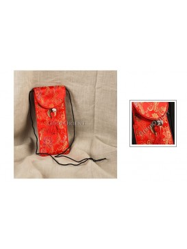 Red Floral Brocade Glasses Bag